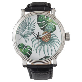 Tropical watercolor pineapple painting on white watch