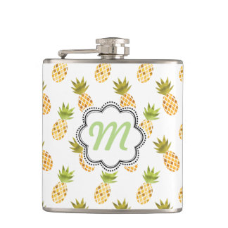 Tropical Watercolor Pineapple Pattern Flask