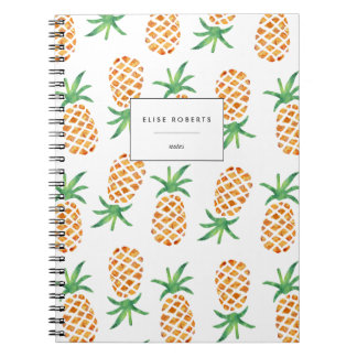 Tropical Watercolor Pineapple Pattern Notebook
