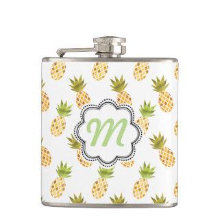 Tropical Watercolor Pineapple Pattern Flask