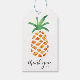 Tropical Watercolor Pineapple Thank You Gift Tags