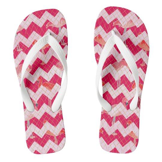 Tropical Watercolor Pink Flamingo Gold Chevron Thongs
