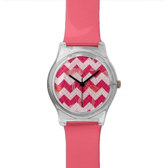 Tropical Watercolor Pink Flamingo Gold Chevron Watch