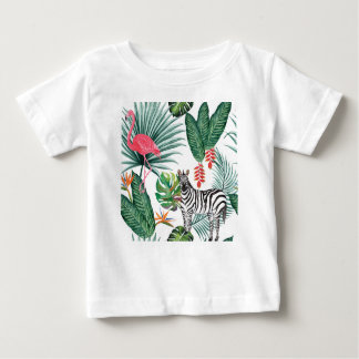 Tropical Watercolor Print- Zebra and Flamingo Baby T-Shirt