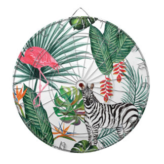 Tropical Watercolor Print- Zebra and Flamingo Dartboard