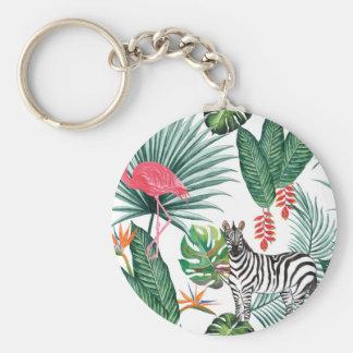 Tropical Watercolor Print- Zebra and Flamingo Key Ring