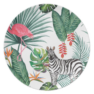 Tropical Watercolor Print- Zebra and Flamingo Plate