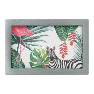 Tropical Watercolor Print- Zebra and Flamingo Rectangular Belt Buckle