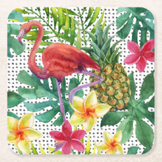 Tropical Watercolor Square Paper Coaster