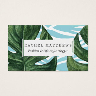 Tropical Watercolor Swiss Cheese Leaf and Zebra Business Card