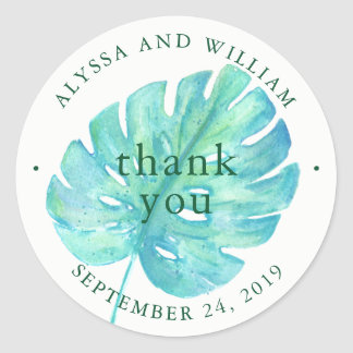 Tropical Watercolor Wedding | Blue Leaf Classic Round Sticker