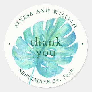 Tropical Watercolor Wedding   Blue Leaf Round Sticker