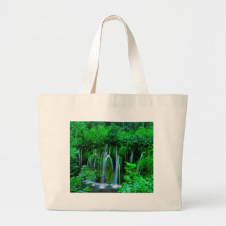 Tropical Waterfall In The Rainforest Large Tote Bag