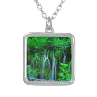 Tropical Waterfall In The Rainforest Silver Plated Necklace