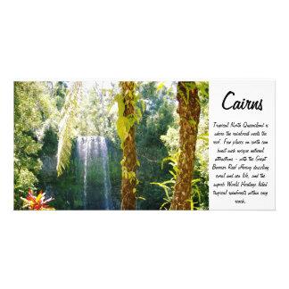 tropical waterfall photo card