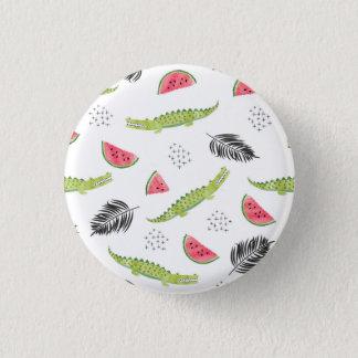 Tropical Watermelon & Crocodile Pattern 3 Cm Round Badge