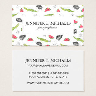 Tropical Watermelon & Crocodile Pattern Business Card