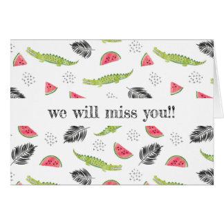 Tropical Watermelon & Crocodile Pattern Card