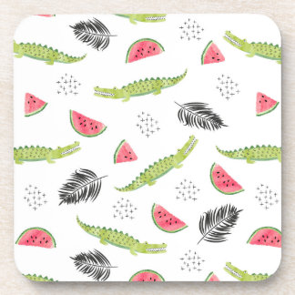 Tropical Watermelon & Crocodile Pattern Coaster