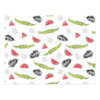 Tropical Watermelon & Crocodile Pattern Postcard
