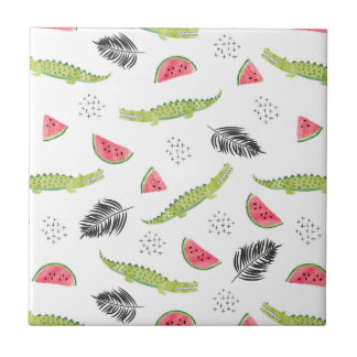 Tropical Watermelon & Crocodile Pattern Tile