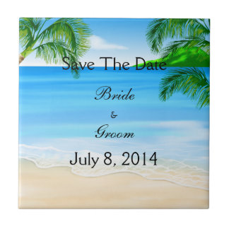 Tropical Waters Beach Wedding Save The Date Small Square Tile