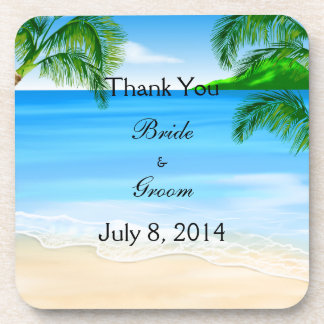 Tropical Waters Beach Wedding Thank You Coasters