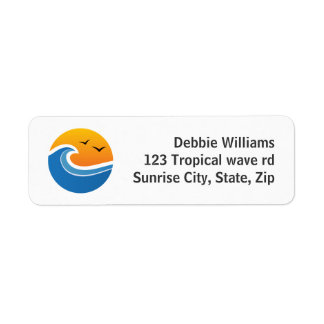 Tropical wave in front of sunrise or sunset labels
