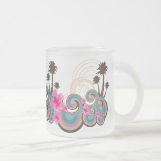 Tropical Waves Hot Pink Hibiscus Beach Palm Trees Mug