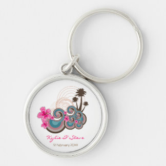 Tropical Waves & Pink Hibiscus Thank You / Gift / Key Ring