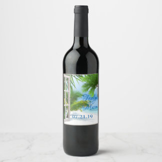Tropical Wedding Beach Scene Beverage Label
