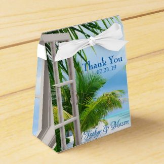 Tropical Wedding Beach Scene Favor Box