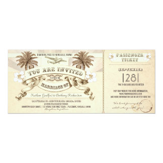TROPICAL wedding boarding pass tickets invitations