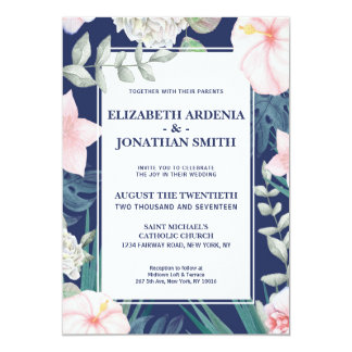 Tropical Wedding Invitation Navy Pink Hibiscus
