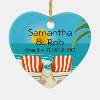 Tropical Wedding Personalized Ornament