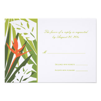 Tropical Wedding RSVP Card Green and Orange Announcements