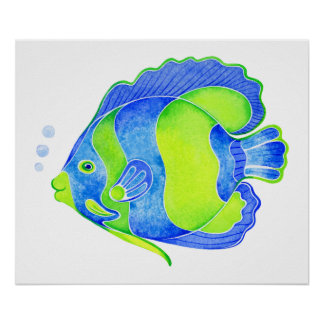 Tropical Whimsical Fish Poster - Watercolor