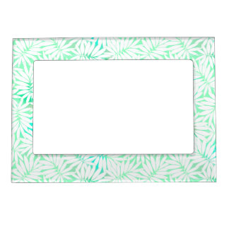 Tropical white and green leaves picture frame magnet