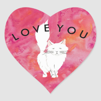Tropical White Cat Love You Heart Sticker