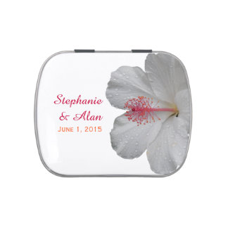 Tropical White Hibiscus Wedding Candy Tins