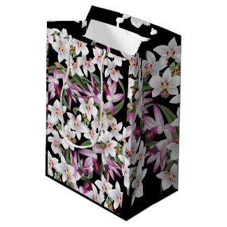 Tropical White Lavender Orchid Flowers Gift Bag