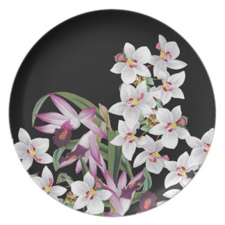 Tropical White Lavender Orchid Flowers Plate