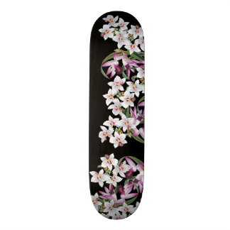 Tropical White Lavender Orchid Flowers Skateboard