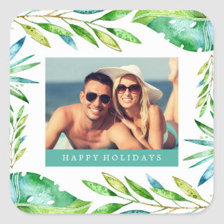 Tropical Wishes   Holiday Photo Square Sticker