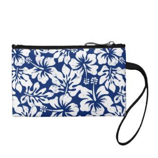 Tropical worn white hibiscus coin purse