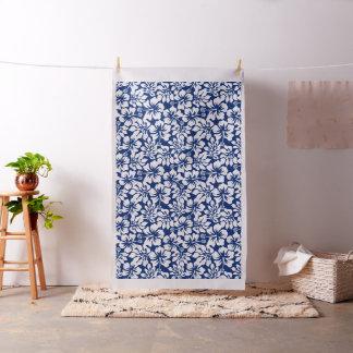 Tropical worn white hibiscus fabric
