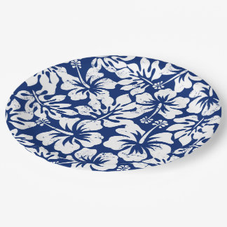 Tropical worn white hibiscus paper plate