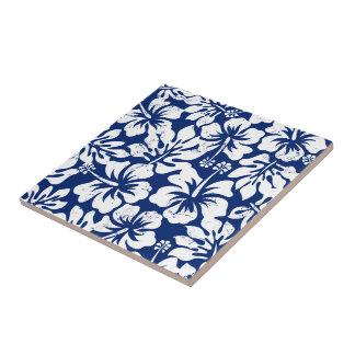 Tropical worn white hibiscus tile