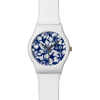Tropical worn white hibiscus watch