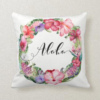 Tropical Wreath Floral Lei Hibiscus Summer Aloha Throw Pillow